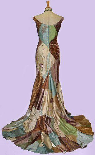7d47f139bd I love these colors. Crazy quilt   art nouveau wedding gown. http