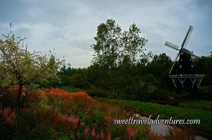 Dutch Windmill and Heath and Heather in Kingsbrae Garden in St. Andrews by-the-Sea, New Brunswick, Canada