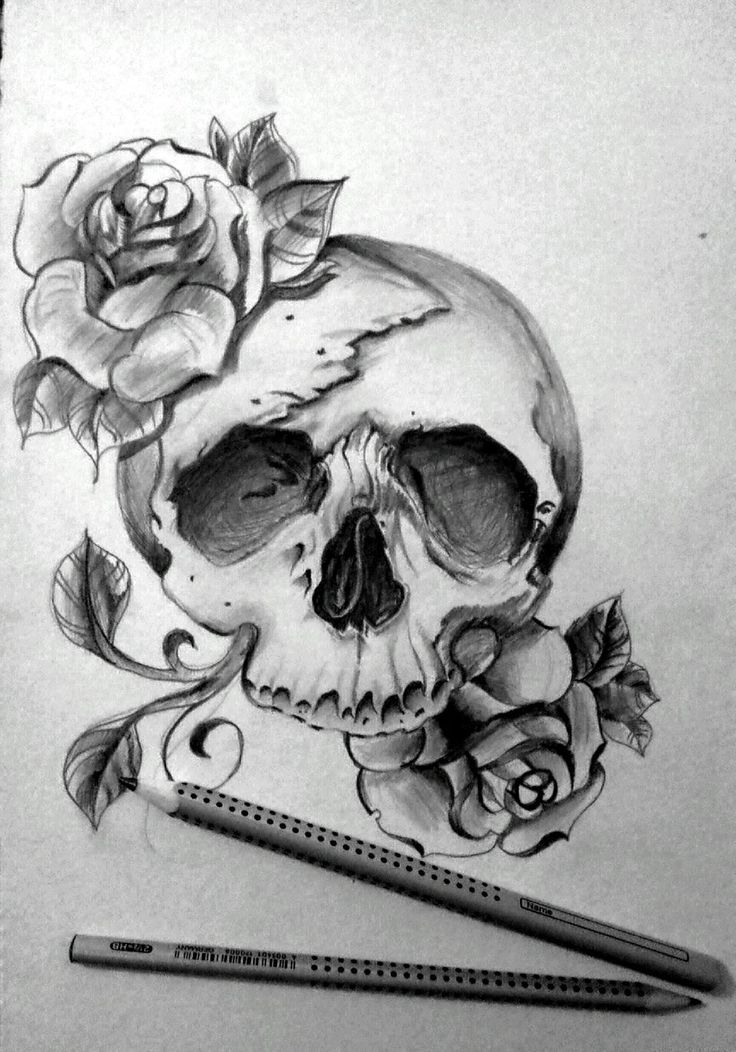 Cool drawings of skulls and roses viewing gallery for Cool rose drawings