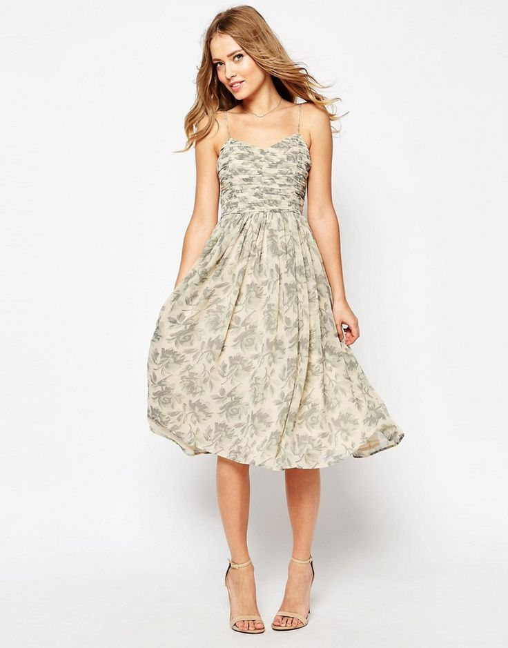 Maid of Honor Dress - Elizabeth  Image 1 of ASOS WEDDING Rouched Midi Dress in Print