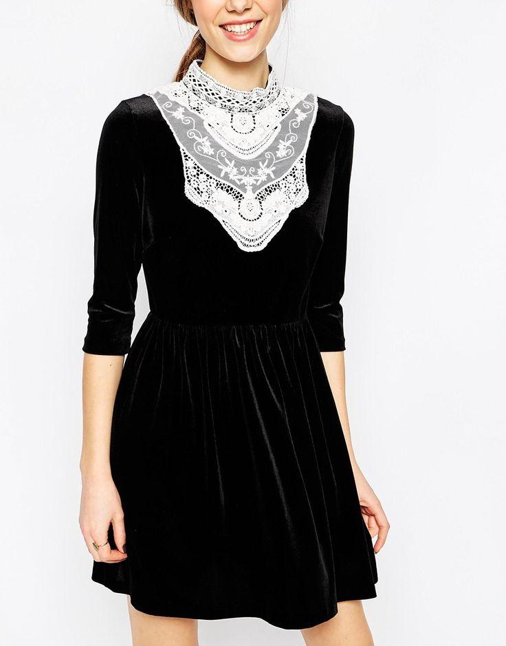 Image 3 ofASOS Velvet Skater Dress With Lace Bib