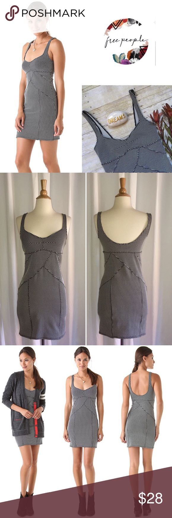 """Free People polka dot bodycon dress Polka dots crowd together on this curve-conforming Jersey tank dress. Scalloped seams meet along the bodice and contour the skirt for the ultimate bodycon fit. In like new condition. 92/8 poly, spandex. 33""""L. Size medium. Free People Dresses"""