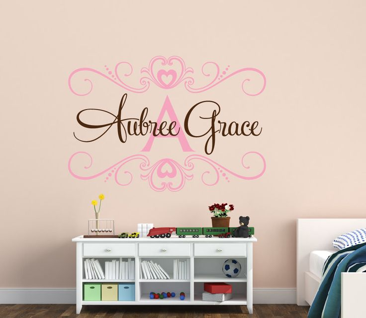 Baby Girl Name Wall Decal - Shabby Chic - Childrens Wall Decal - Heart Wall Decal - Monogram Wall Decal - Vinyl Wall Decal - Vinyl Lettering by NewYorkVinyl on Etsy https://www.etsy.com/listing/190726953/baby-girl-name-wall-decal-shabby-chic