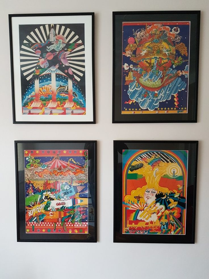 Set of 4 colourful pop art posters by Dan Fern and Chris McEwan for Cadbury Fry's Crunchie bars - Crunchie the Taste Bomb 1969 - looking fantastic displayed together in simple black frames.