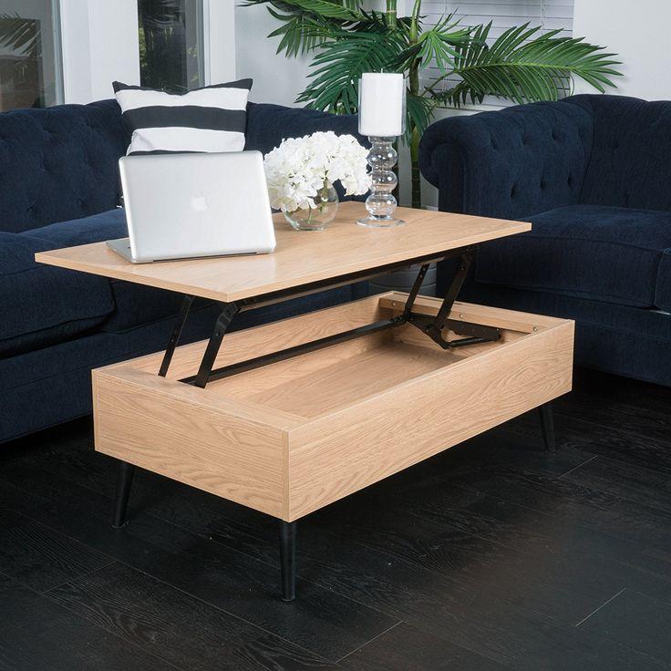 Caleb brown wood lift top storage coffee table