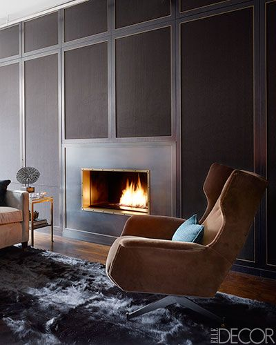 Compliment a cozy fireplace with a furry rug // Living RoomsLiving Area, Dramatic Manhattan, Elle Decor, Interiors Design, Living Room, New York Apartments, Fireplaces Wall, Fireplaces Surroundings, Manhattan Apartments
