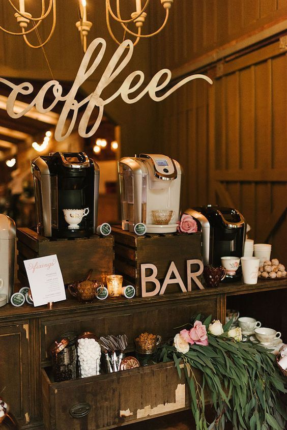 Hands down the best thing you can do at a wedding to really make it yours is to personalize it. Creating a personalized experience not only for you and your beau but also for your guests is not as hard as you may think, and it definitely goes beyond the monogram! One fabulous way to do this is to have a self-serve coffee bar at your wedding reception. See the details here:  http://burnettsboards.com/2016/08/wedding-reception-coffee-bar/