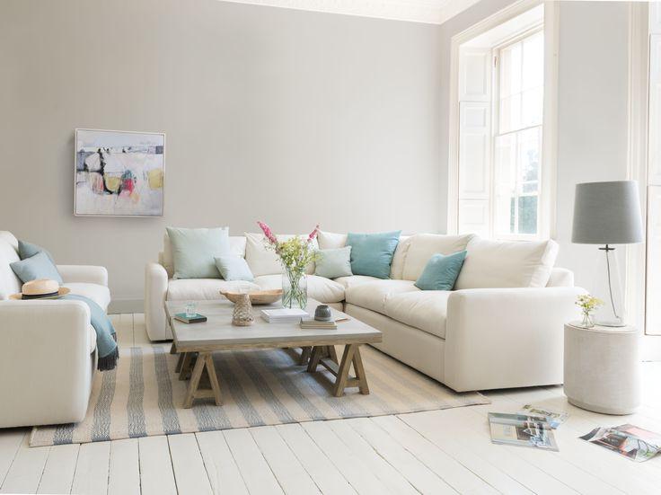 CHATNAP MODULAR SOFA FROM £725  sofa, white sofa, blue sofa, blue cushions, settee, couch, sofa design, modular sofa, corner sofa, upholstered sofa, upholster, upholstery, coffee table, table lamp, side lamp, living room, sitting room, design ideas, home ideas, home inspiration, inspiration, stripe rug, striped rug, canvas print, cotton sofa, coastal, nautical, new designs, wood coffee table, Loaf, Loaf home, Loaf.com, furniture, soft furnishings, new cushions, plump cushions, concrete