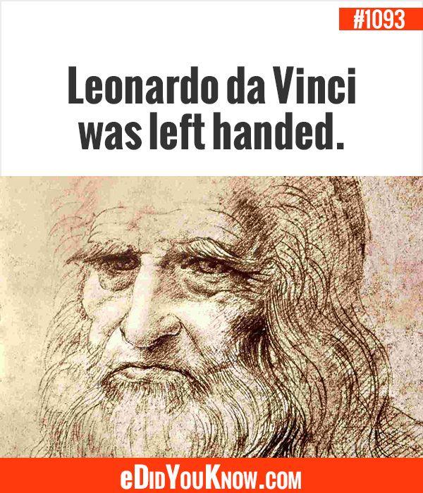eDidYouKnow.com ►  Leonardo da Vinci was left handed.