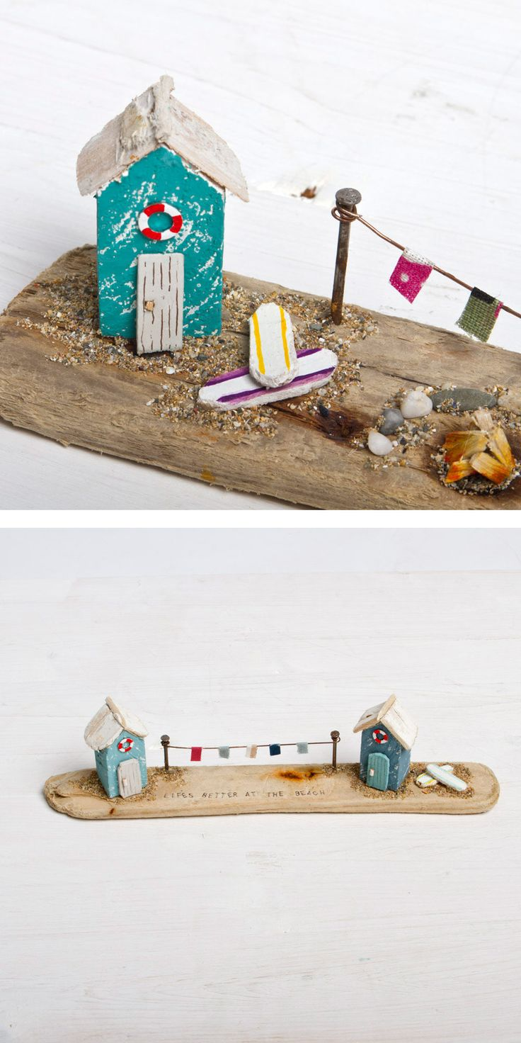 Add a miniature Driftwood Beach Hut scene to your home. #bringingthebeach http://surfgirlbeachboutique.com/products/beach-hut-driftwood-scene-lifes-better-at-the-beach