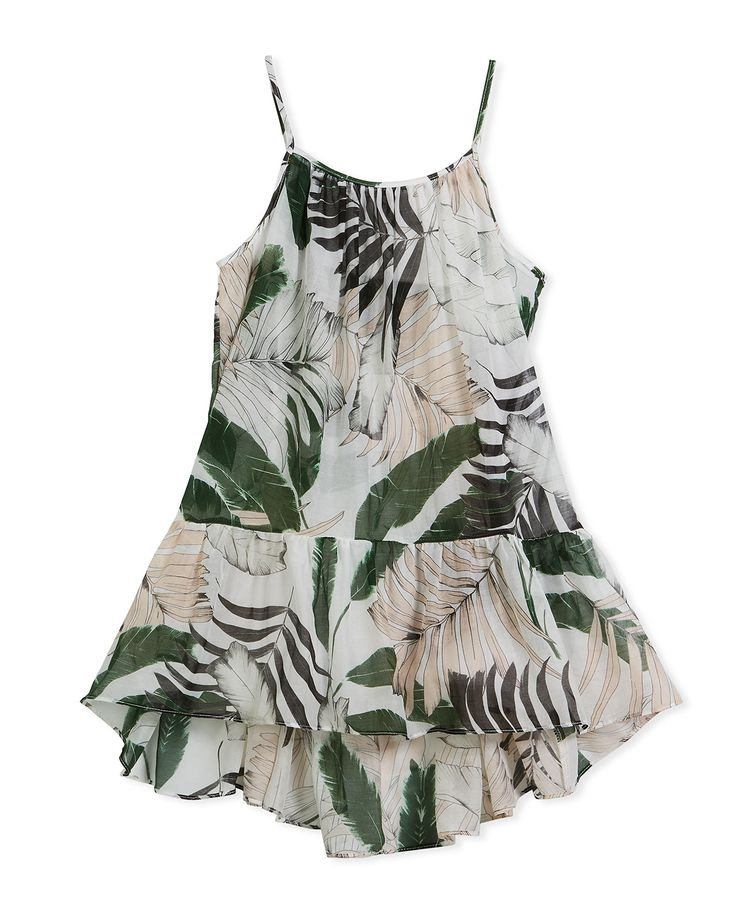 MILLY MINIS PALM TREE-PRINT HIGH-LOW COVERUP DRESS, SIZE 4-7. #millyminis #cloth #