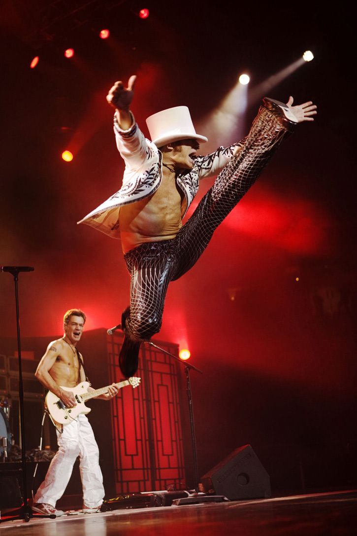David Lee Roth (with Eddie Van Halen in the background) ♪♫ Music ♪♫ Van Halen I LOVED going to their concerts. He was so much fun to watch. Bras on the concert stage from the audience was the norm. Spectrum in the 1980s