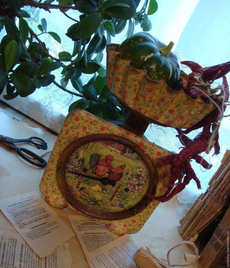"""Купить Весы """"Деревенские"""" - комбинированный, ретро, винтаж, весы, кухня, дача, загородный дом 2016"""