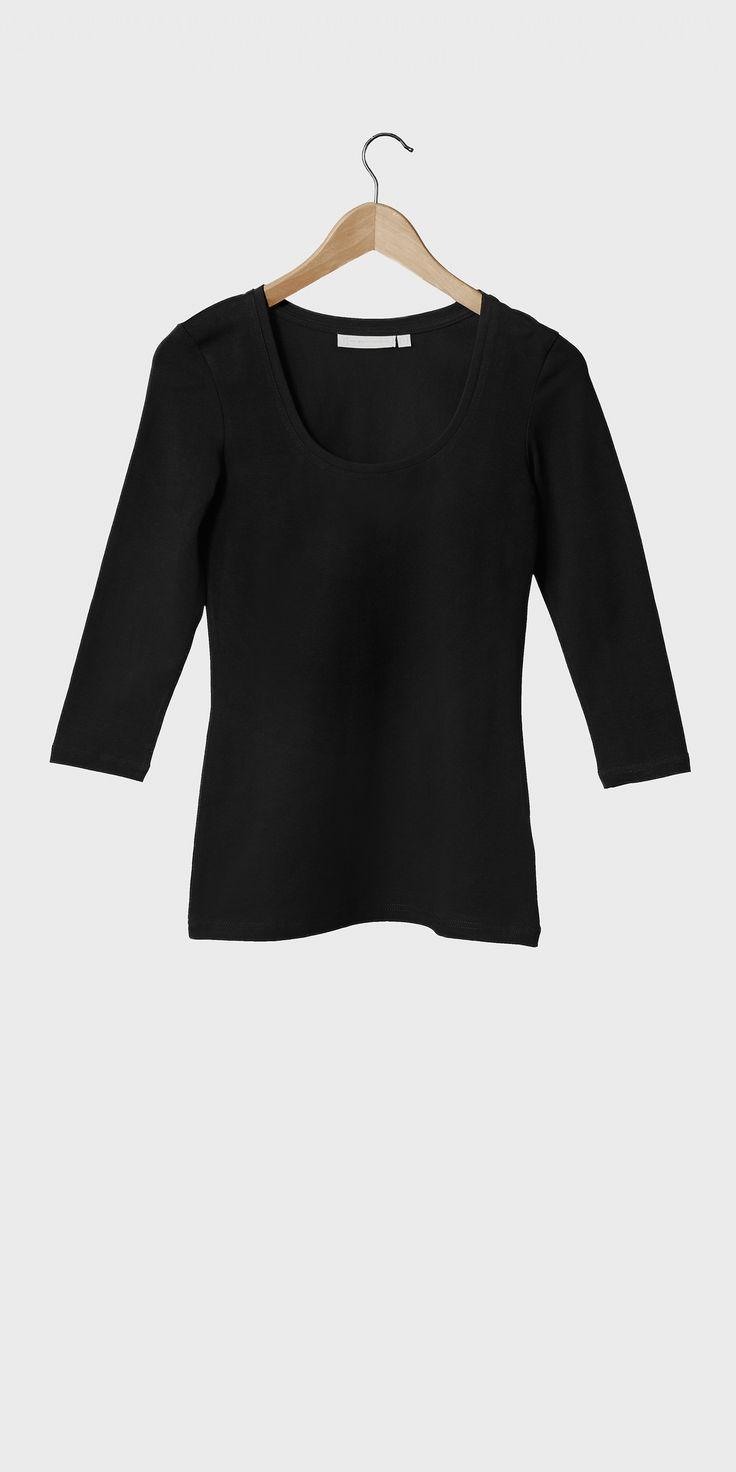 White t shirt company - Women S Black 3 4 Sleeved Scoop Neck T Shirt The White