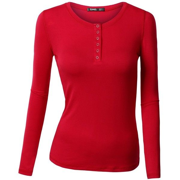 Thanth Womens Long Sleeve Button Down Henley Top Basic Shirts at... (20 CAD) ❤ liked on Polyvore featuring tops, red button up shirt, long sleeve button up shirts, shirt tops, long-sleeve henley shirts and red henley shirt