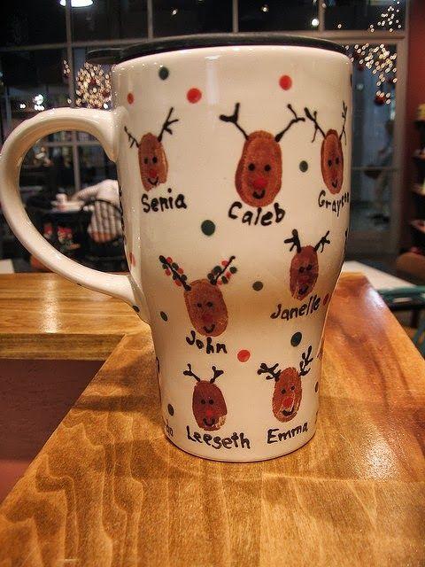 >thumb print reindeer mug
