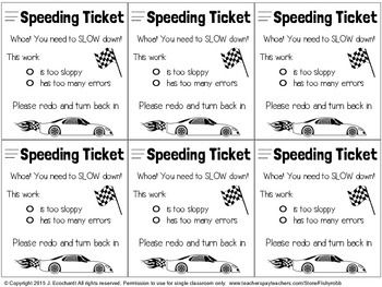 "We all have students who speed through their work and don't do their best. Here's a cute way to remind them to slow down. Attach a ""Speeding Ticket"" to their work to ask them to correct or redo."