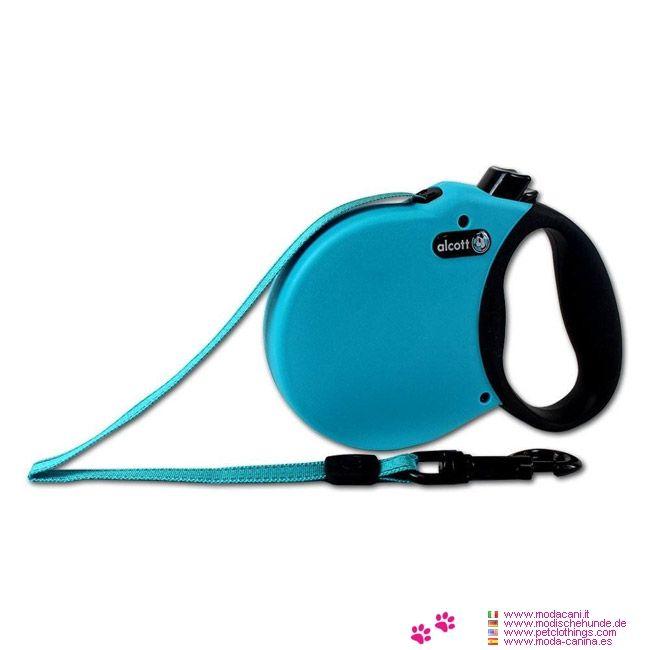Correa Extensible Azul Claro para Perro Pequeño con Cinta - Correa extensible para perro pequeño, de color azul; está equipada con una cinta de nylon super resistente, anti-desgarro, con costuras reflectantes