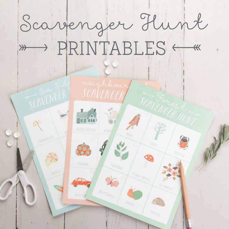 Get the kids adventuring with these super cute Scavenger Hunt Printables! These Scavenger Hunt Printables come in 3 great locations to search in!
