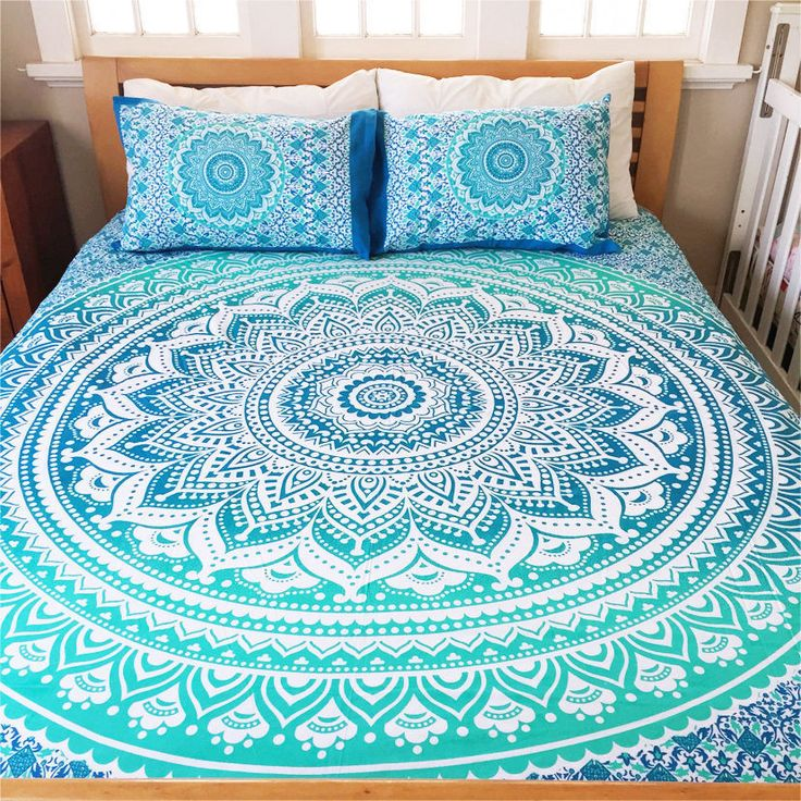 Bohemian Blue Life Flower Indian Queen Size Bedding 3 Piece Set Mandala Boho Hippie Bedspreads Tapestry and 2 Pillow Cases - Free Shipping