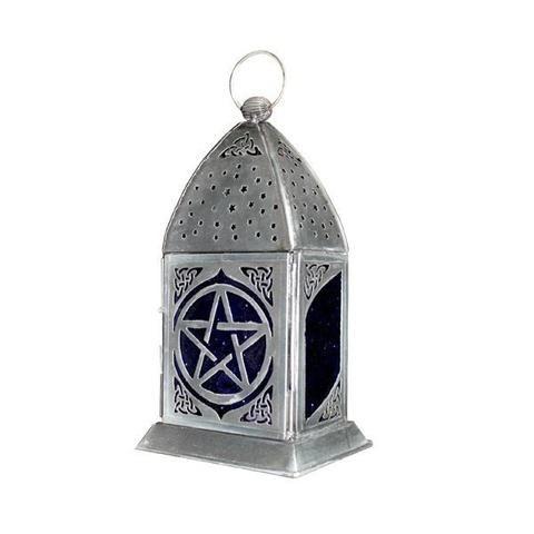Pentacle Silver Metal Lantern - The Hippie House