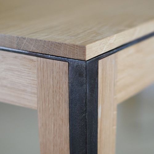 table detail - wood & darken steel Manufacture Nouvelle