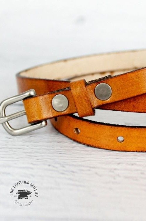 Womens Barely Noticeable Thin Full Grain Leather Belt Handcrafted