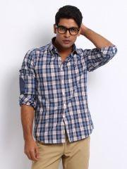 Arrow Sport Men Blue & White Checked Manhattan Slim Fit Smart-Casual Shirt