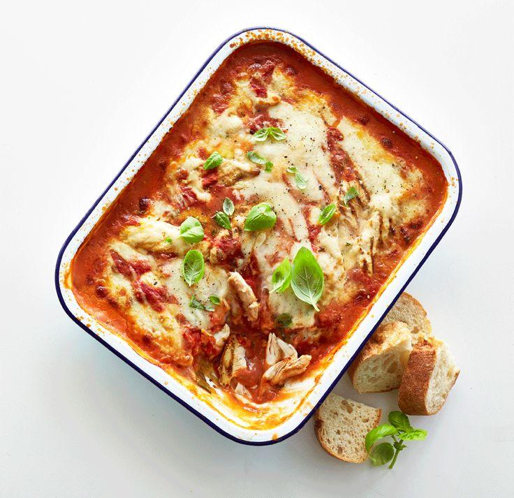 Grillet kyllinge lasagne med squash