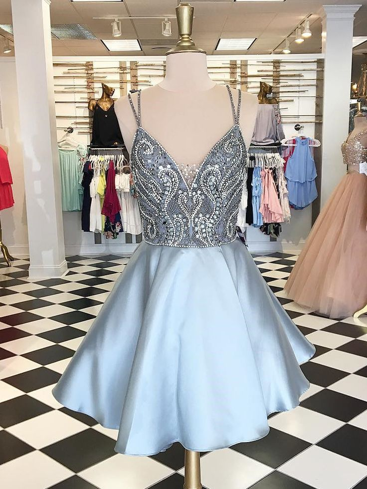 A-line homecoming dresses, beaded homecoming dresses, spaghetti straps homecoming dresses, short prom dresses, formal dresses, party dresses#SIMIBridal #homecomingdresses