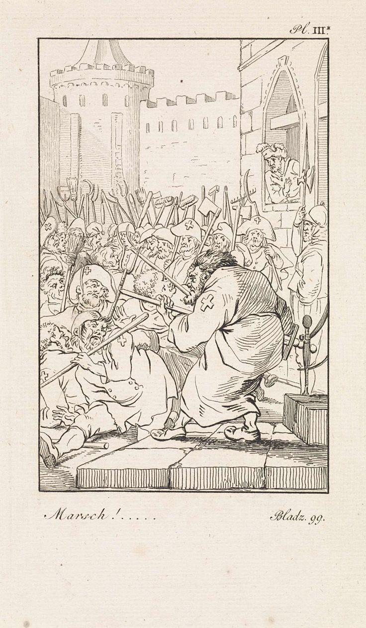 Daniël Veelwaard (I) | Leger van boeren, Daniël Veelwaard (I), Jacob Smies, François Bohn, 1802 - 1809 | Een beorenmenigte gewapend met bezems, hooiwvorken en zeisen bij een muur en een toren. Zij dragen kruisen op hun kleding en hoeden. Rechtsboven: Pl. III*. Rechtsonder: Bladz. 99.