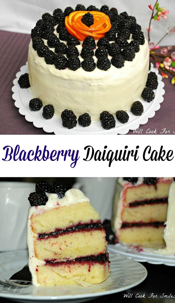 Blackberry Daiquiri Cake. Soft and moist cake made with citrus flavors, filled with homemade blackberry jam and topped with cream cheese frosting.  from willcookforsmiles.com