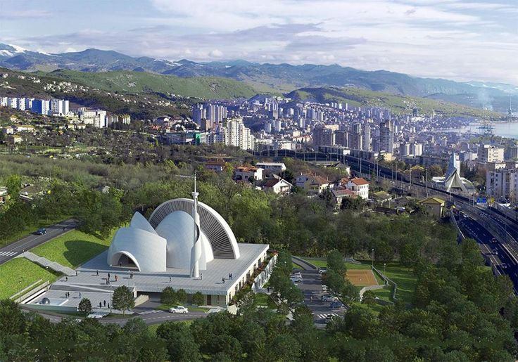 https://www.facebook.com/pages/Islamska-arhitektura-i-umjetnost/1403357959880645  Aerial shot of the Islamic centre in Rijeka, Croatia.