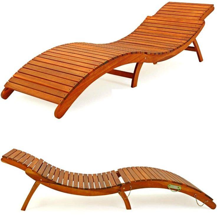 Marvelous Garden Wooden Recliner Pool Sun Lounger Bed Beach Relaxer Chair Outdoor Day  Bed