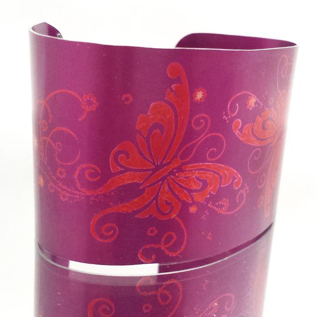 Magenta and Orange Butterfly Anodised Aluminium Cuff £19.50