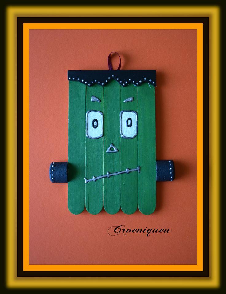 Halloween, Frankenstein, school, iskola, spatula, akril