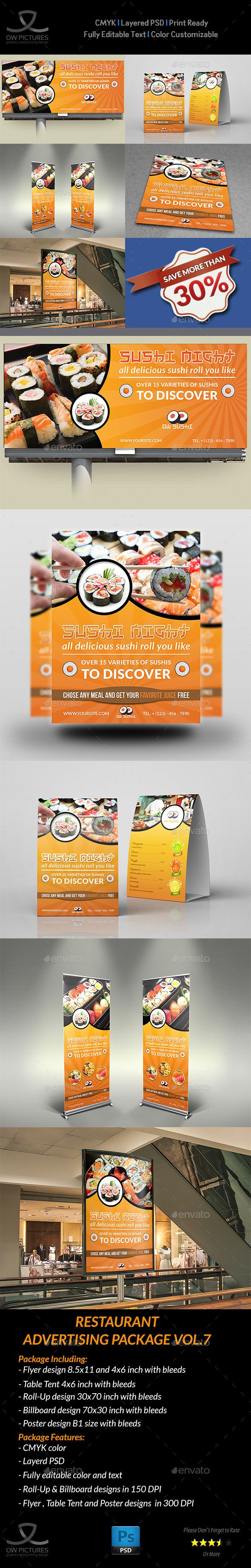 Advertising Bundle Description : Restaurant Advertising Bundle Vol.7 including Flyer design, Billboard design, Roll-Up Signage