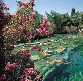 Swimming in the ancient pools of Pamukkale, Turkey