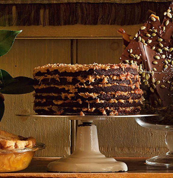 Rich German Chocolate Cake ... recipe from scratch.  At the restaurant 6 layers, at home 3 layers...the cake for chocolate lovers.