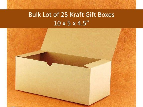 Bulk Pack Of 25 Kraft Gift Boxes 10 X 5 X 4 Rustic Boho Brown Gift Boxes For Glassware Wedding Wedding Favor Boxes Kraft Gift Boxes