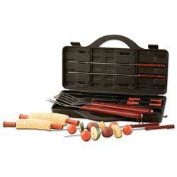 """15PC BBQ SET by Chef-Master. $11.87. All come stored in a blow-molded case measuring 16"""" x 8-3/4"""" x 2-1/4"""". Limited lifetime warranty. Set includes: spatula, fork, 4 skewers, and 8 corncob holders. All come stored in a blow-molded case measuring 16"""" x 8-3/4"""" x 2-1/4"""". Limited lifetime warranty.. Save 60%!"""
