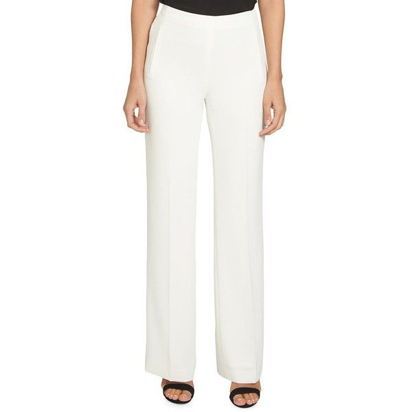 Cece Women's Wide Leg Dress Pants ($109) ❤ liked on Polyvore featuring pants, new ivory, winter white dress pants, white trousers, wide leg trousers, white pants and winter white wide leg pants