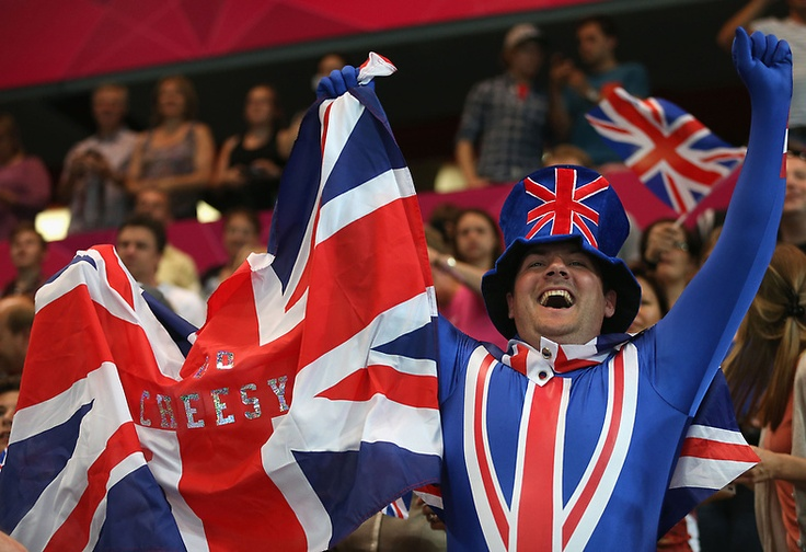 A Great Britain fan shows his support during the Women's Handball preliminaries Group A - Match 5 between Montenegro and Great Britain on Day 1 of the London 2012 Olympic Games at the Copper Box on July 28, 2012 in London, England.