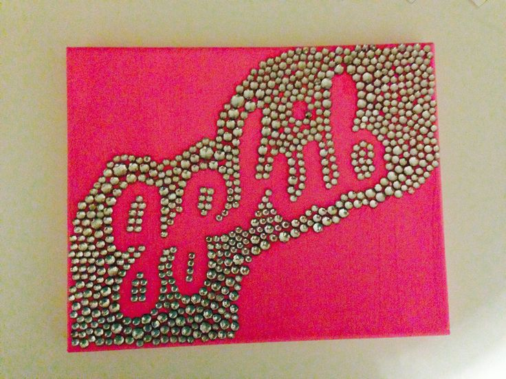 gamma phi beta rhinestone craft i made for my little!