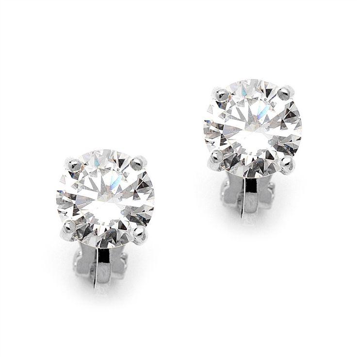 Micropavé Crystal Clip On Earrings 12h Cer Rhinestone Wedding Bridal Stud Non Pierced Pinterest