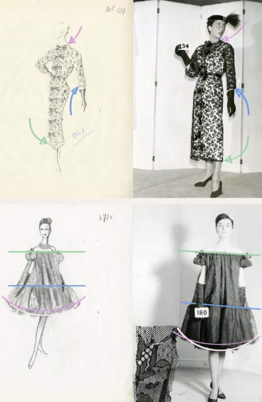 Translating Designs from Sketches: Gravity and Proportion | The Cutting Class. Cristóbal Balenciaga images from the 1950s and 1960s showing sketches and final garments.