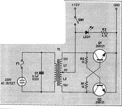 Este é um micro inverter DC-AC que a partir de uma bateria de 12v pode gerar uma tensão de 110 ou 220 Volts em corrente alternada e em uma frequência de 50Hz a 60Hz.