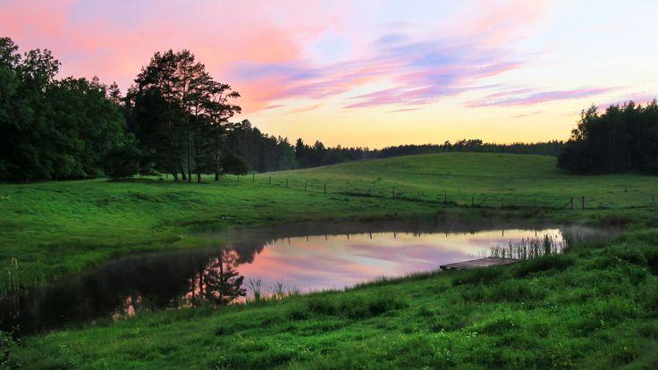 Po deszczu ... zachód słońca nad stawem w Siedlisku na Wygonie na Mazurach