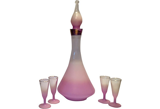 Midcentury Decanter & Glasses, 5 Pieces  Pretty in Pink - sorta reminds me of I Dream Of Jeanie's bottle :)
