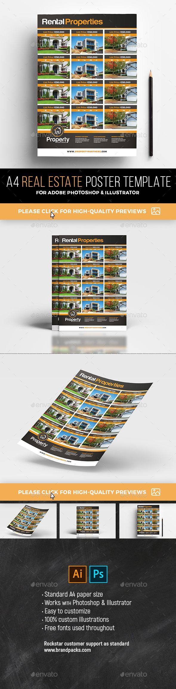 Real Estate Poster / Property Listing Sheet #services #property  • Download here → https://graphicriver.net/item/real-estate-poster-property-listing-sheet/21100972?ref=pxcr